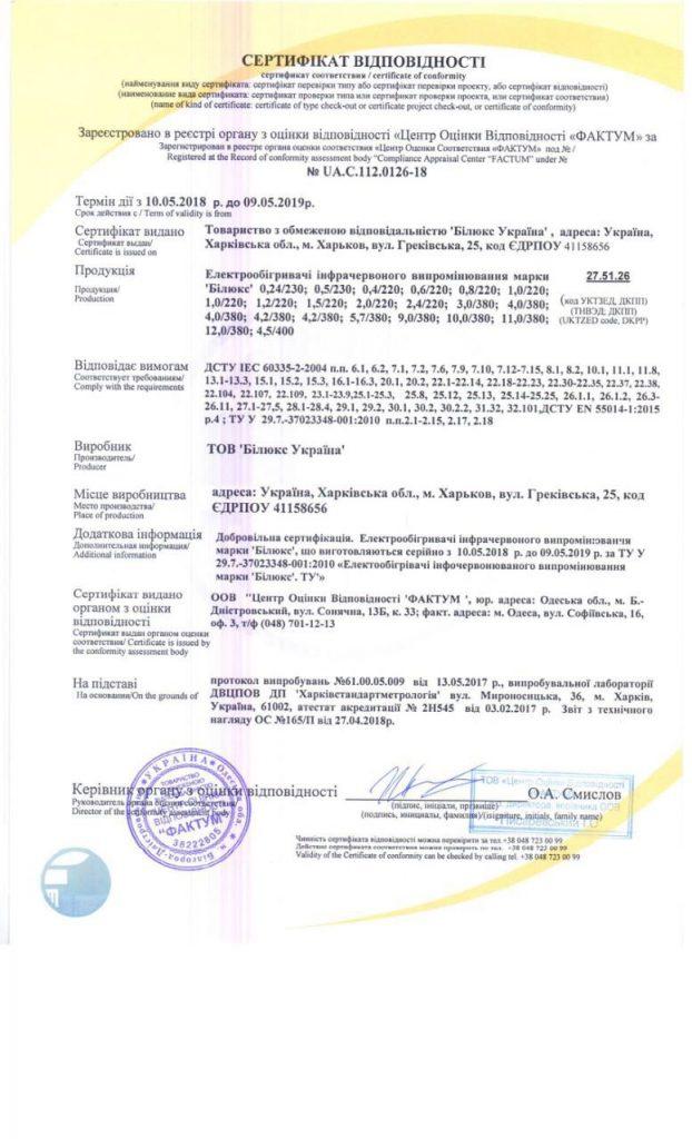 Сертифікат відповідності УкрСЕПРО